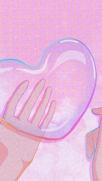 泡泡 童年 紫色 插畫 愛心