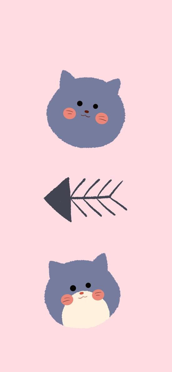 猫咪 鱼骨 卡通 粉