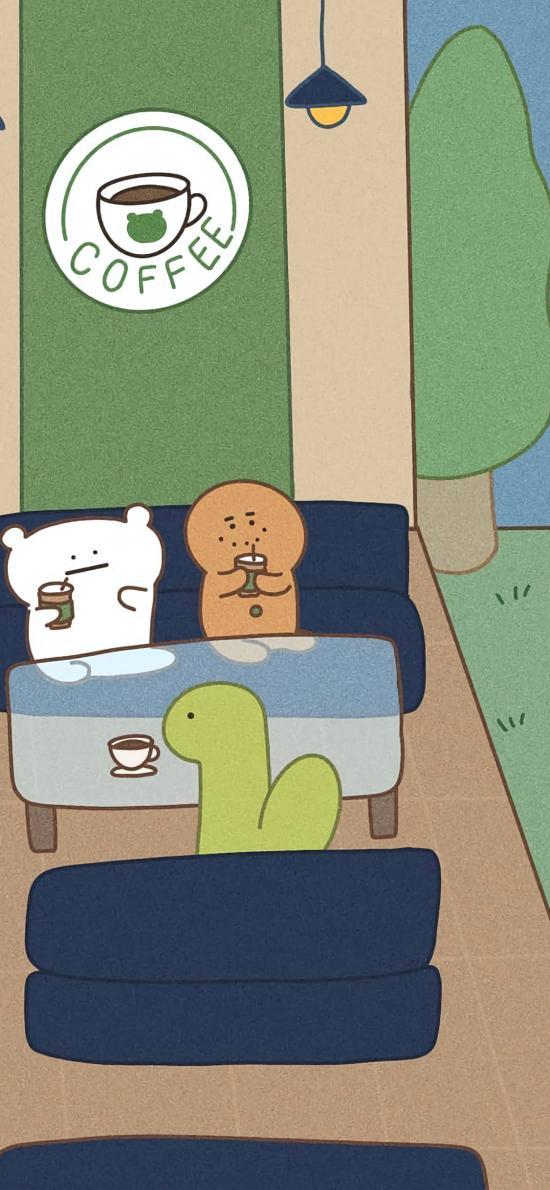 插图 卡通 萌物 喝咖啡
