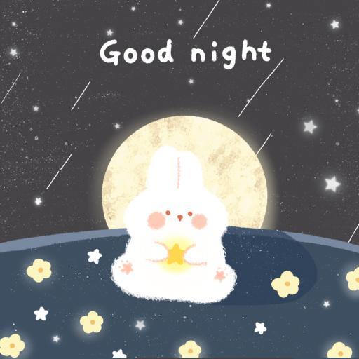 可愛 兔子 晚安 good night