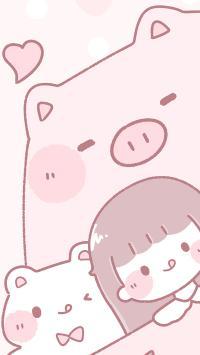 猪猪女孩 爱心 粉色 卡通 猫咪