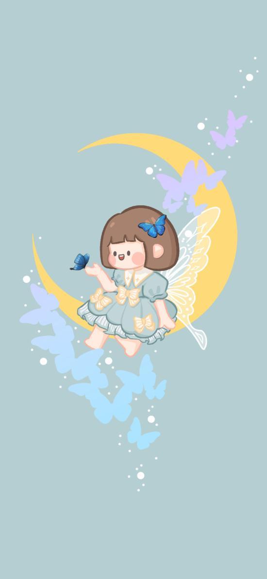 可爱 月亮 蝴蝶 女孩 肉肉酱