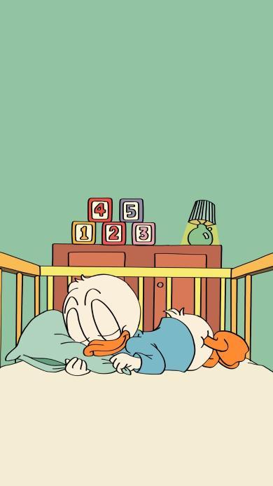 鸭子 睡觉 卡通 数字 床 枕头