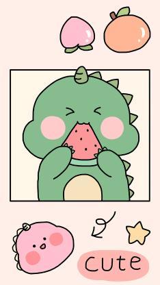 可爱 小恐龙 cute 西瓜