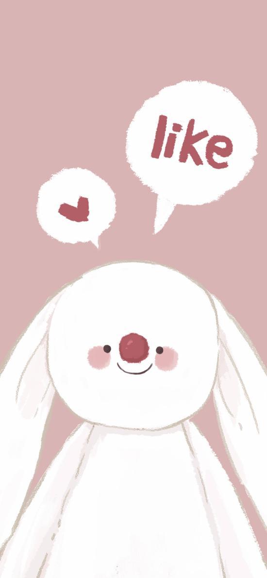 卡通 兔子 like 爱心