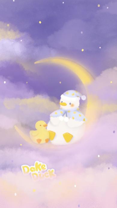 达可鸭 dake duck 月亮 梦幻 小鸭