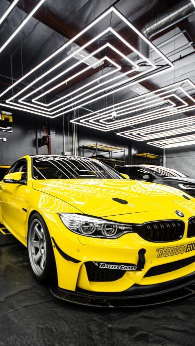 宝马 超级跑车 炫酷 黄色 车库