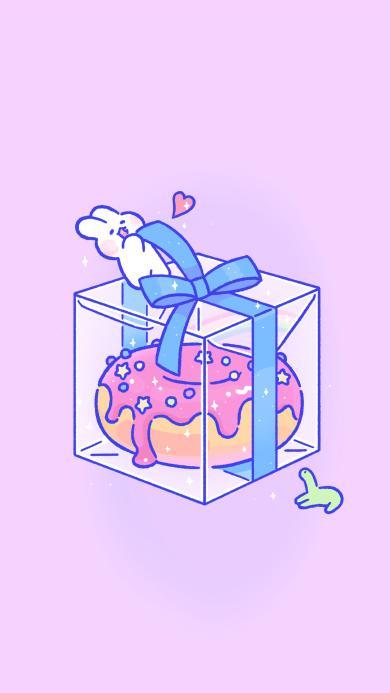 软萌兔 mongmong 粉色 礼物 甜甜圈