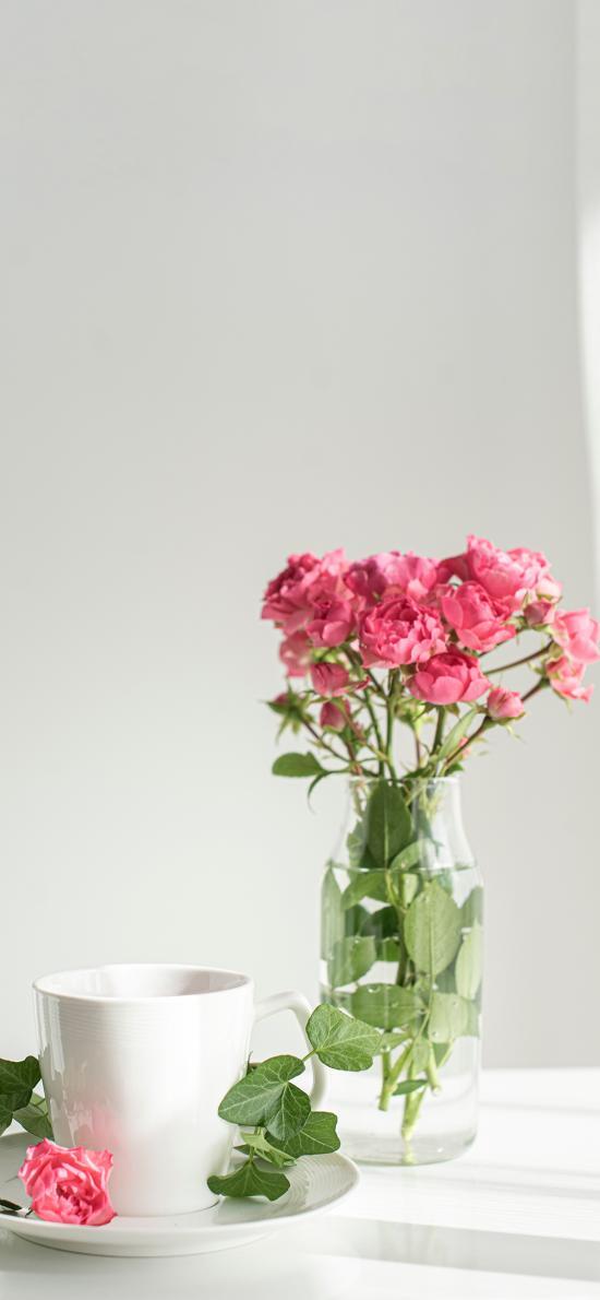 花瓶 插花 鲜花 粉色 观赏