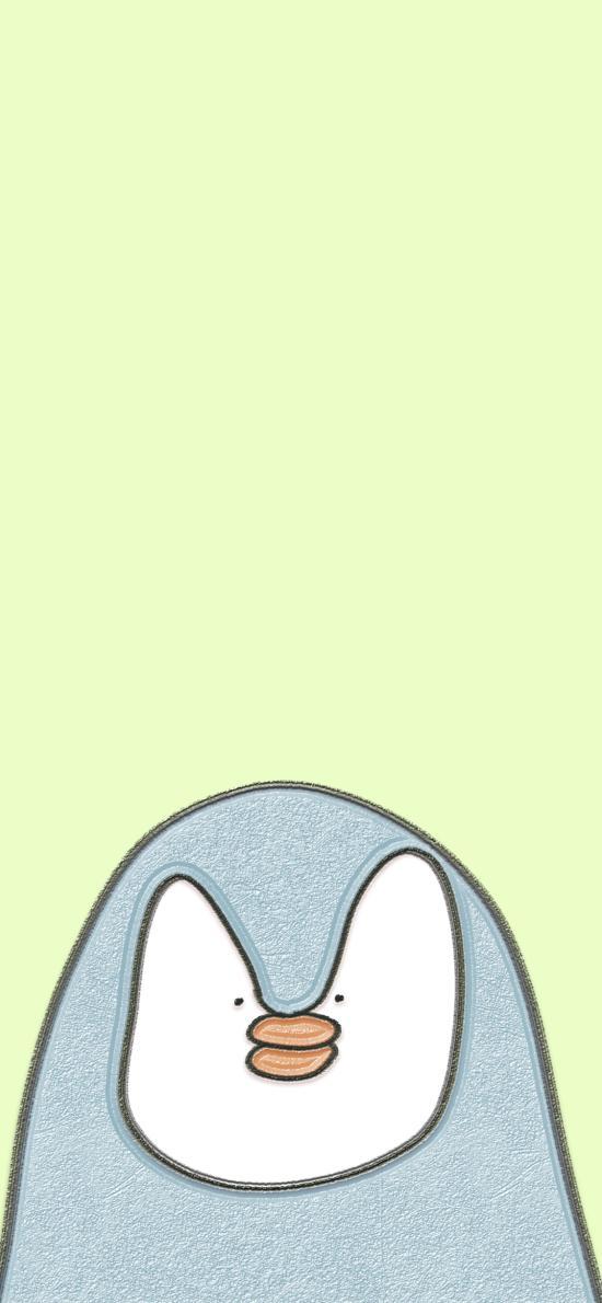 绿色背景 卡通 企鹅 可爱