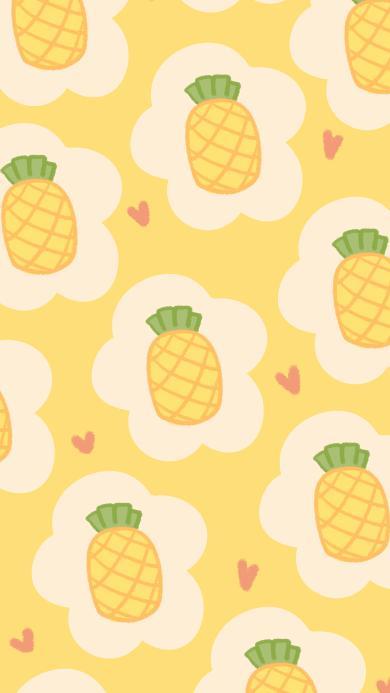 菠萝 黄色 平铺 水果