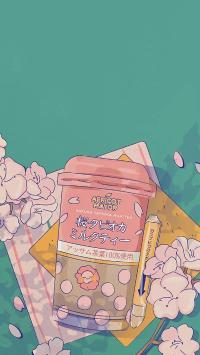 插图 樱花 奶茶 夏日饮品