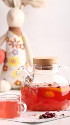 水果花茶 玫瑰 柠檬 饮品 玻璃器皿