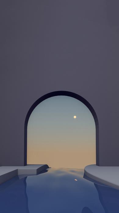 空间 拱门 蓝色 倒影 水 太阳