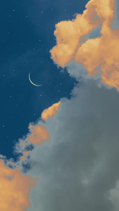 夜空 星空 月亮 云朵 天空