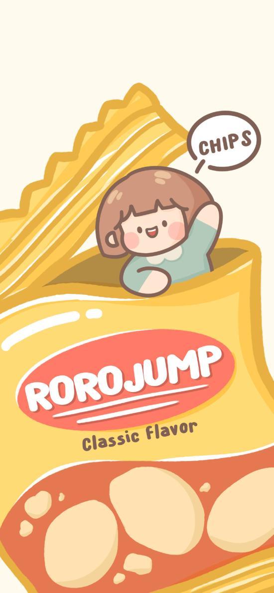 薯片 肉肉酱 小女孩 零食 黄色