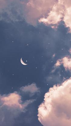 夜空 月亮 星星 星空 唯美