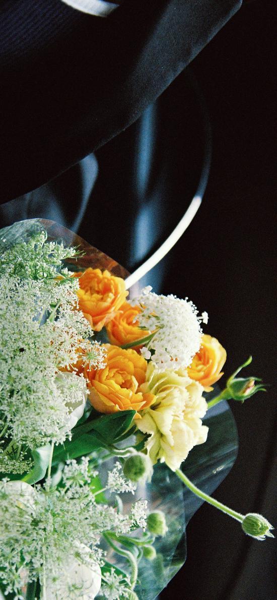 鲜花 花束 搭配 黄玫瑰