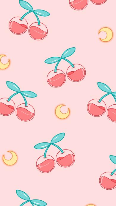 樱桃 月亮 粉色 平铺 少女风