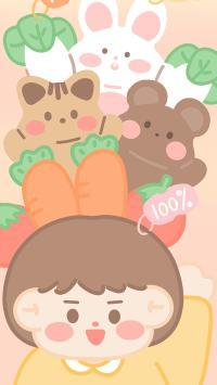 卡通 女孩 兔子 胡萝卜 萌物