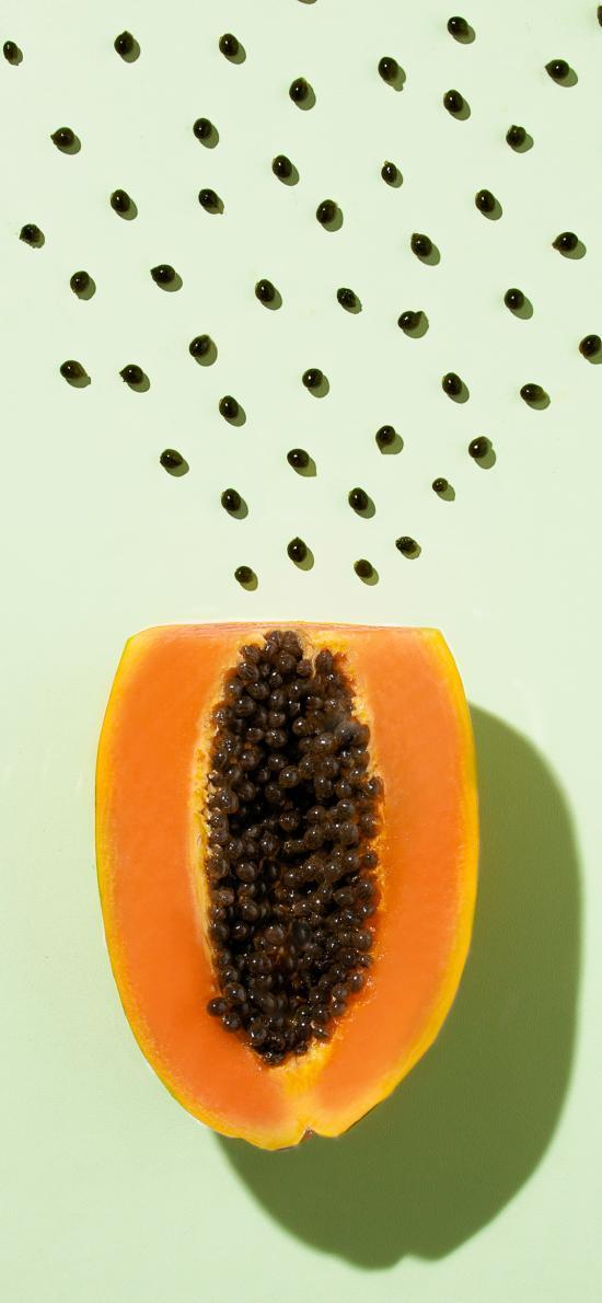 木瓜 果蔬 蔬菜 光影 籽 颗粒 排列