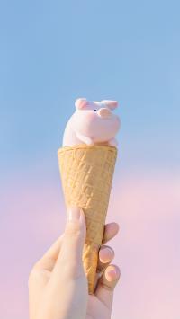 lulu猪 冰淇淋 可爱 粉色