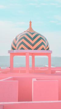 西班牙 红墙 卡尔佩 建筑 粉色