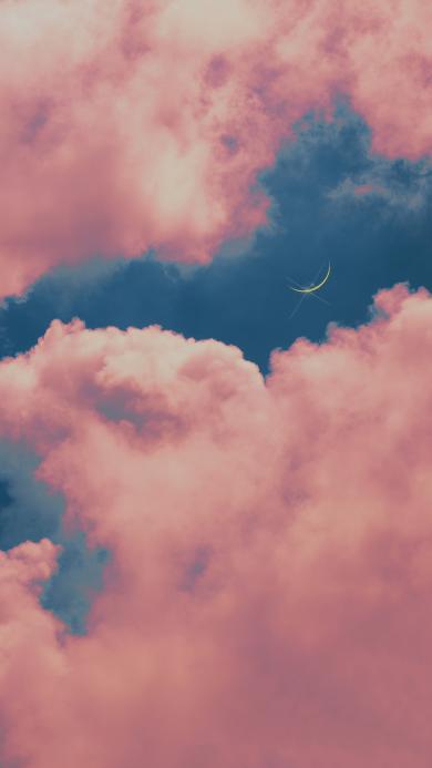 月亮 夜空 云彩 天空 月牙