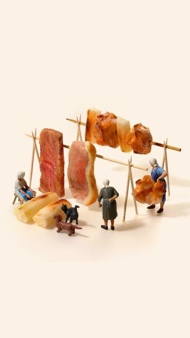 肉 微观世界 摄影 组合 晾晒 串串