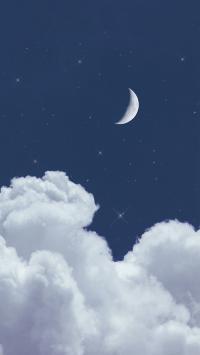 夜空 月亮 云朵 星空 星星