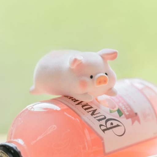 lulu猪 可爱 鸡尾酒 玩偶 摆件