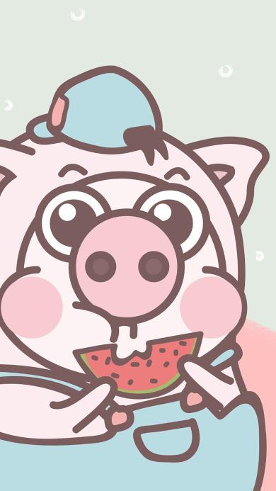 小恭猪 可爱 吃瓜 卡通