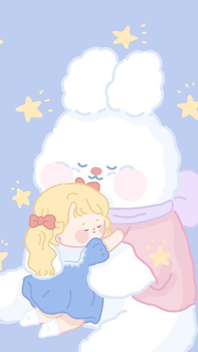拥抱 小女孩 兔子 星星 蓝色