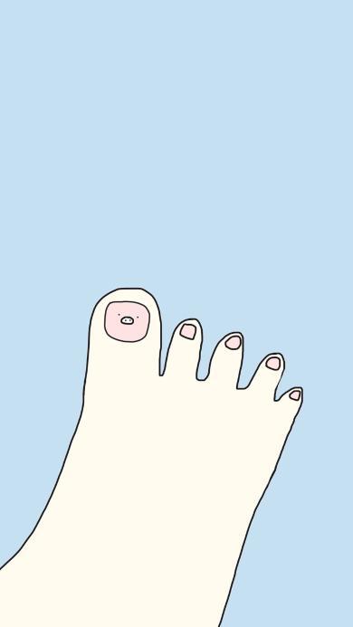 脚丫 猪鼻子 脚趾 卡通 蓝色