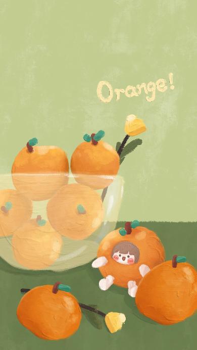 插画 orange 柑橘 女孩 可爱 肉肉酱