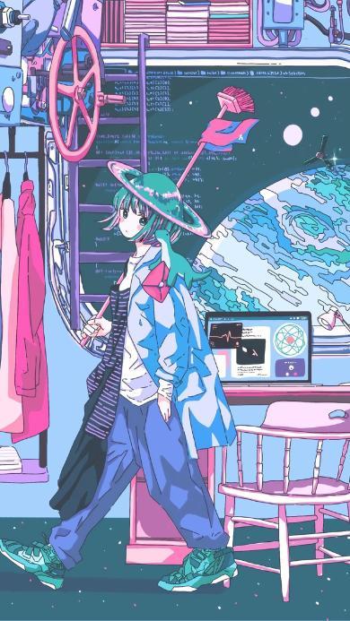 女孩 二次元 漫画 电脑