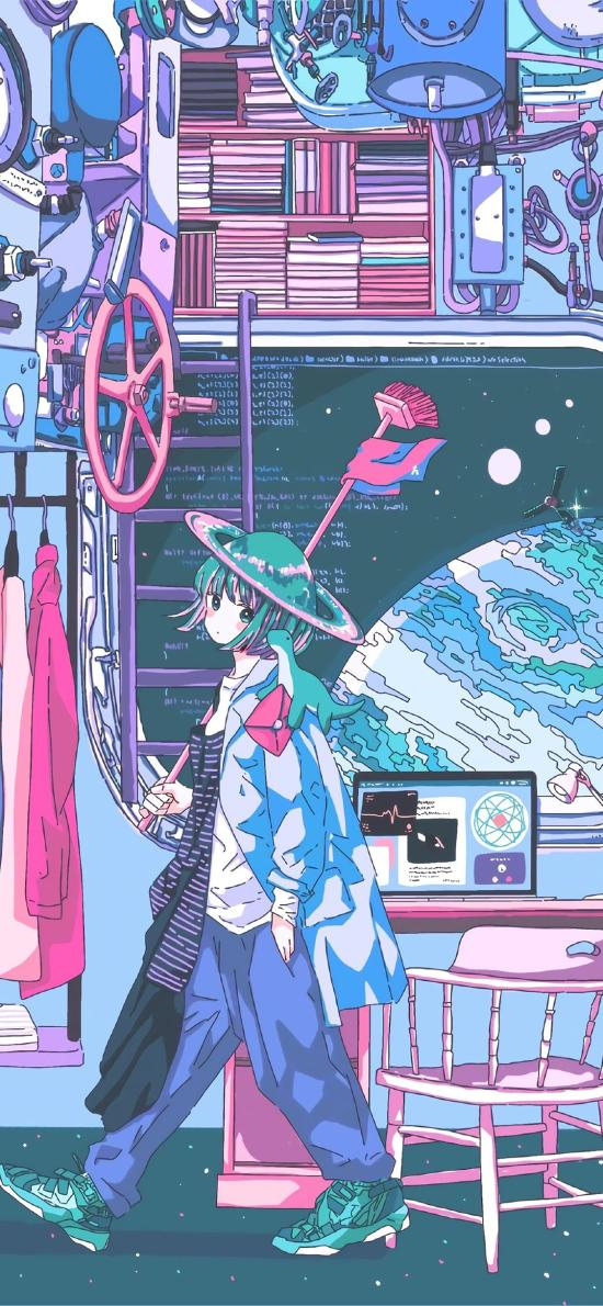 女孩 二次元 漫畫 電腦
