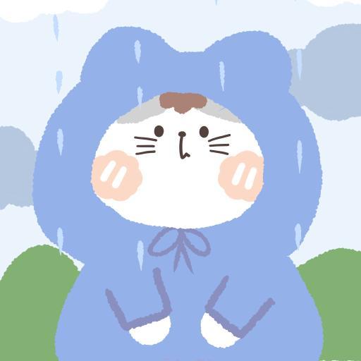 卡通 猫咪 躲雨 rain