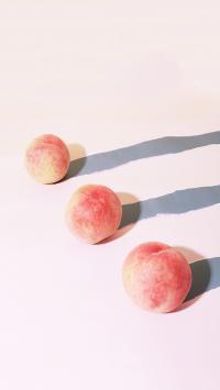 桃子 水果 果实 影子 粉色