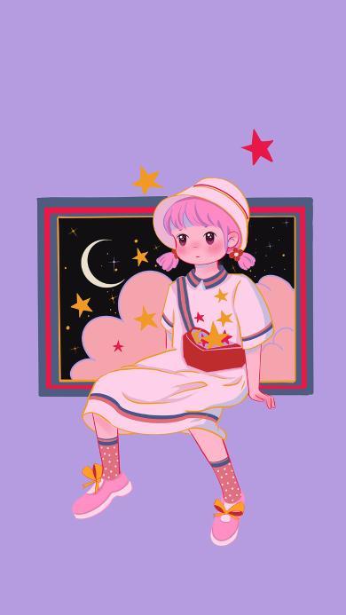 女孩 星星 月亮 插画 紫色