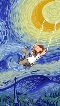 梵高 星空 月亮 荡秋千 绘画 画家