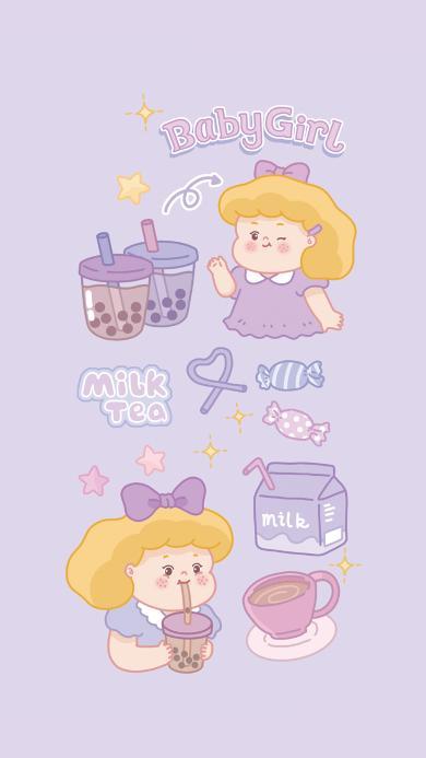 女孩 紫色 糖果 奶茶 牛奶 可爱
