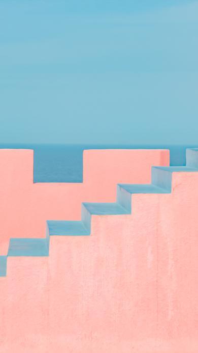 阶梯 楼梯 粉色 西班牙 红墙 建筑