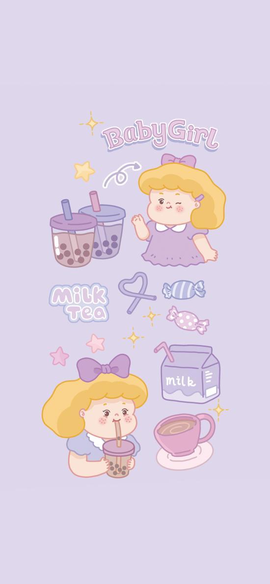 女孩 紫色 糖果 奶茶 牛奶 可愛