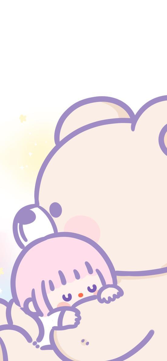 拥抱 小女孩 熊 爱你 卡通