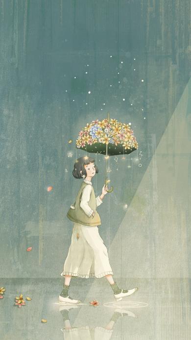 插画 雨伞 趣味 花朵 女孩