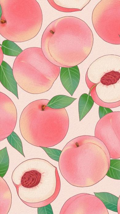 手绘 桃子 粉色 平铺