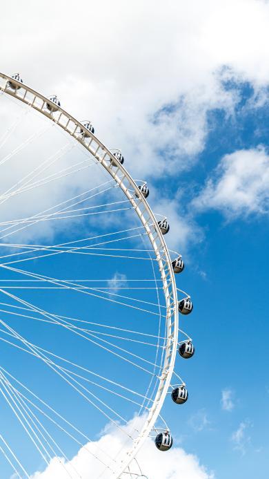 摩天轮 天空 蔚蓝 云彩 游乐园