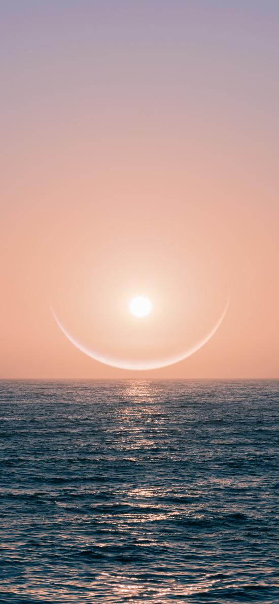 大海 夕陽 光輝 海平面