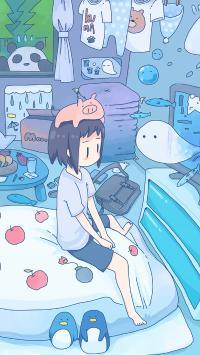 看电视 小女孩 蓝色 猪 被子